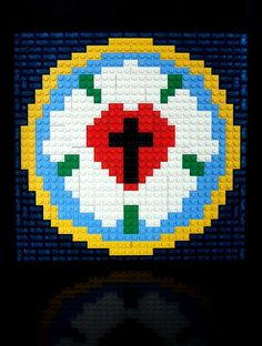 Chris Wunz made a mosaic of Martin Luther's seal to commemorate Reformation Sunday. Quoting Chris, who was quoting Luther: In Luther's. Reformation Sunday, Martin Luther Reformation, Luther Rose, 8bit Art, Sunday School Crafts, School Kids, Legos, Cross Stitch, Christian