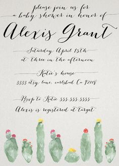 Cactus Desert Baby Shower Invitation for Baby Girl or Boy Unisex by kreynadesigns