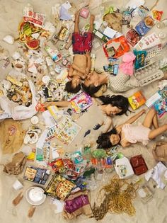 Michael, Jason, Annie and Olivia surrounded by seven days of their own rubbish in Pasadena, California.