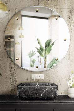 GLIMMER MIRROR is a precious piece of art with eight brass details adorned with crystal appointments that elevates any environment. Luxury and glamour are surely granted. Minimal Bathroom, Modern Bathroom, Bathroom Sinks, Elegant Bathroom Decor, Rectangular Vessel Sink, Bathroom Trends, Home Decor Trends, Room Tiles, Bathroom Inspiration