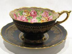 Vintg Royal Stafford Bone China Black w/ Roses Gold Gilt Footed Teacup & Saucer