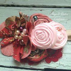 Pink, Burgundy Red, Rust Brick Red, Fabric Flower with Pink Rosettes Headband, Women's Headband, Girls Headband, Newborn Baby Girl Headband  on Etsy, $16.75