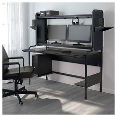 IKEA - FREDDE Work station black Ikea Gaming Desk, Gaming Desk Black, Computer Desk With Hutch, Gaming Room Setup, Desk Hutch, Computer Desks, Ikea Workstation, Computer Shelf, Desks Ikea