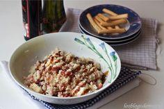 Ensalada de cous cous con bacon y queso emmental