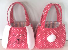 Ideas for sewing machine bag diy tuto sac Bunny Bags, Fabric Tote Bags, Fabric Basket, Personalized Tote Bags, Handmade Handbags, Kids Bags, Sewing For Kids, Easter Baskets, Purses And Bags
