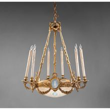 French Neoclassical Domed Chandelier With Wedgwood Plaques & Bowl