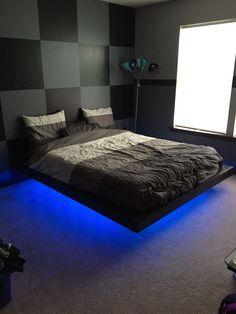 Bedroom Setup, Bedroom Bed Design, Room Ideas Bedroom, Home Bedroom, Modern Bedroom, Bedroom Decor, Bedroom 2018, Mens Room Decor, Game Room Decor