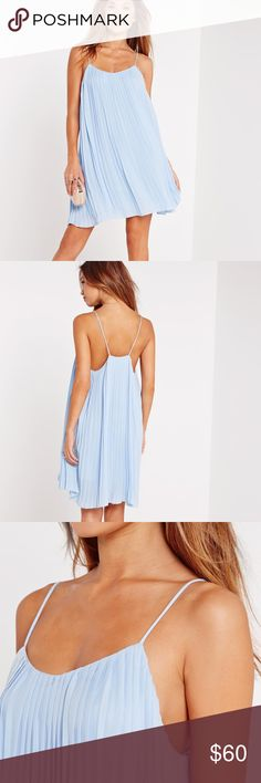 BRAND NEW Strappy Pleated Swing Dress👗✨ BRAND NEW. NEVER WORN🔥💋 Super classy, ultra feminine & seasonally, they're spot on trend rn. featuring a powder blue hue, cami straps, a floaty feel and all-round pleats, you'll be the belle of the weekend. 100% Polyester. Missguided Dresses