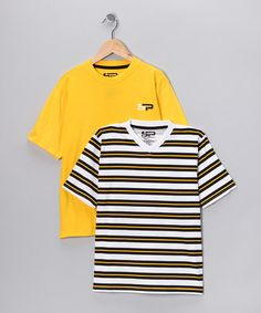 Take a look at this Yellow & White Stripe Tee - Boys by Casual Staples: Boys' Tees on #zulily today! @Donna Stegall Rakestraw