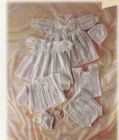 REDUCED Nostalgic Layette Baby Knitting PATTERN - PDF Carrying Coat, Dress, Matinee Jacket, Booties, Bonnet, Pilchers and Vest
