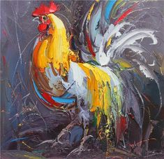 Rooster Painting, Rooster Art, Chicken Painting, Chicken Art, Painting & Drawing, Watercolor Paintings, Farm Art, Art Abstrait, Animal Paintings