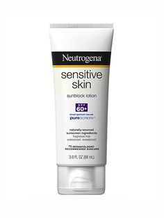 Neutrogena Sensitive Skin Sunscreen Broad Spectrum SPF 60+ One of our chemical-free drugstore favorites, this oil-free sunscreen uses physical filters titanium dioxide and zinc oxide to form a supereffective sun-protective shield. It also feels weightless, won't irritate sensitive skin, and costs about $10.