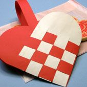 Craft project: Instructions and patterns for making a woven heart-shaped paper basket to fill with Valentine's Day treats.