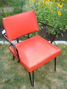 Vintage Art Deco Chair Red Vinyl Black Crome Arms Legs | eBay