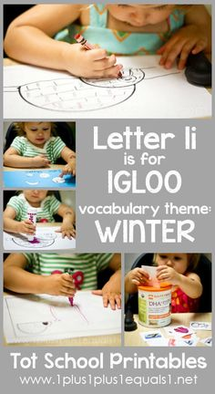 Tot School Printables Letter I is for Igloo ~ a free program for toddlers from Carisa Letter I Activities, Montessori Activities, Toddler Activities, Toddler Learning, Teaching Kids, Preschool Learning, Early Learning, Preschool At Home, Preschool Crafts