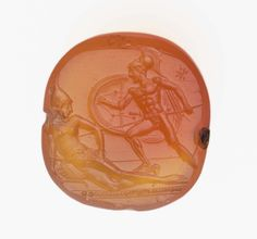 Round scaraboid gem with Achilles spearing Penthesileia | Museum of Fine Arts, Boston