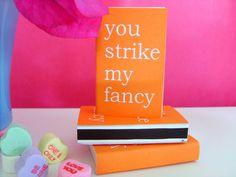 STRIKE MY FANCY Tangerine Matchboxes. via Etsy.