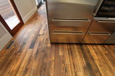 BENGAL: Engineered Prefinished Reclaimed Heart Pine Wood Flooring from reSAWN's RUSTIC MODERN Collection.  Design Firm: Fury Design.