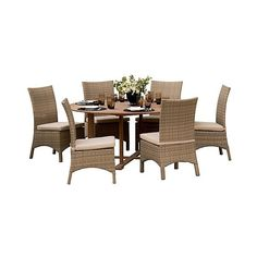Patio Dining Set: Oxford Garden Torbay 13 Piece Dining Set: Natural... ($3,319) ❤ liked on Polyvore featuring home, outdoors, patio furniture, outdoor patio sets, brown, outdoor garden furniture, outdoor table chairs, antique dining set and resin outdoor furniture