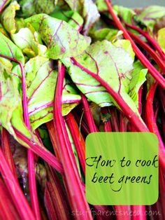 Colorful, thrifty side dish: how to cook beet greens.-I am going to try this today since I got a beet in our Bountiful Basket this week and had no idea what to do with it. Beet Recipes, Vegetable Recipes, Whole Food Recipes, Vegetarian Recipes, Cooking Recipes, Healthy Recipes, Delicious Recipes, Healthy Food, Recipies