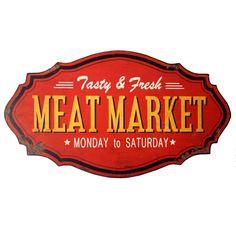 Image result for Metal Meat Market Sign