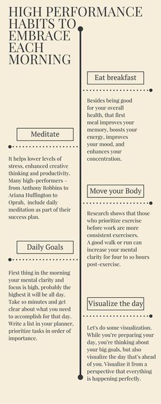 Nice graphic to prepare for the week with less stress and more opportunity to set your intention and meet your expectations. High performance habits to embrace in the morning and enhance your morning routine. Good Habits, Healthy Habits, Healthy Routines, Motivacional Quotes, Famous Quotes, Greatest Quotes, Mental Training, Healthy Mind, Self Development