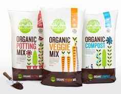 Packaging and illustration by Marx design for Living Earth, a New Zealand-based brand of organic compost.