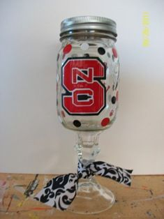 Redneck Wine Glasses- Janet please send this to Sherry, she might like this idea Redneck Wine, Rednecks, General Crafts, Mason Jar Wine Glass, School Colors, Candlesticks, Fun Stuff, Craft Projects, Gift Ideas