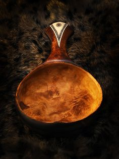 Hand Carved Coupe De Voyageur Canoe Cup In Cherry Wood