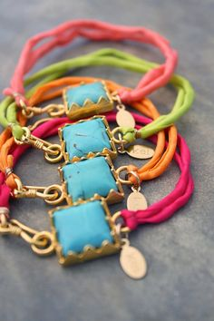 turquoise + neon armcandy by kei