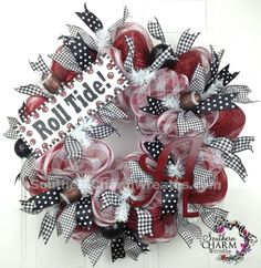 For my Alabama Friends....Deco Mesh University of Alabama Roll Tide Collegiate Door Wreath by www.southerncharmwreaths.com