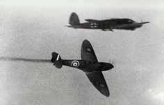 A British RAF Supermarine Spitfire attacks a German Heinkel HE 111 bomber. (The Art Archive / Alamy)