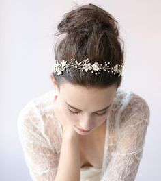 Vintage Wedding Bridal Crystal Gold Silver Headband Hair Accessories Crown Tiara #crystalpearlsbeadedtiaraheadpieceheadband