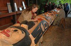Restoration work, Totem Bight State Park, Alaska