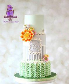 MINT & GREY with Harlequin Mix Dahlia & V-Petal Ruffles - Cake by Violet - The Violet Cake Shop™ - CakesDecor