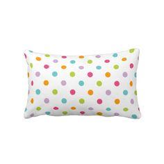 Cute Girly Colorful Polka Dots Throw Pillows