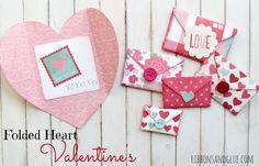 Folded heart valentines