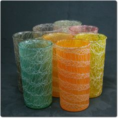 1a598cfb7ea Set of Eight Spaghetti String Drinking Glasses