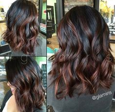 Length of hair. and black hair color with brown highlights Bayalage, Honey Balayage, Hair Color And Cut, Hair Highlights, Chocolate Highlights, Chocolate Ombre Hair, Caramel Highlights, Color Highlights, Brunette Hair