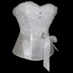 Vente chaude plus la taille satin lacent overbust corset blanc sexy lingerie mariée de mariage bustiers taille formateur femmes corsets