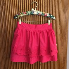 A&F Floral Cutout Miniskirt. Worn once. No flaws. Stretchy waistband in back. Hot pink with floral cutouts. Abercrombie & Fitch Skirts Mini