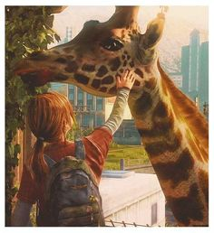 Ellie and her giraffe friend.