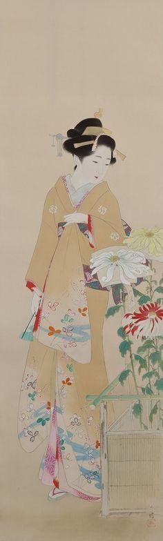 Ito Shoha - Chrysanthemum Viewing (Kangiku zu 観菊図)                           Ito Shoha ( 伊藤小坡, 1877- 1968, Japanese painter )