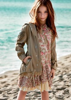 TWIN-SET Girl Collection: Parka with hood and embroidery and printed floral dress