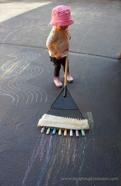 Backyard Art Ideas - Rake Your Driveway with Chalk!