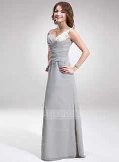 A-Line/Princess V-neck Floor-Length Chiffon Charmeuse Bridesmaid Dress With Ruffle Beading (007001107) - JJsHouse