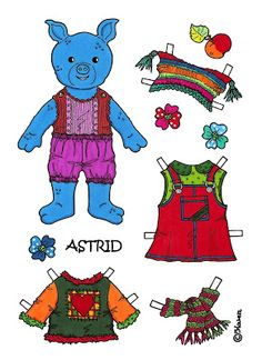 Karen`s Paper Dolls: Astrid 1-4 Paper Doll to Print in Colours. Astrid 1-4…