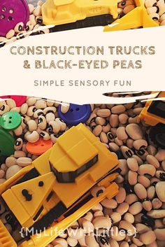 A simple sensory bin for the littles. Check out the Construction Truck bin and more!