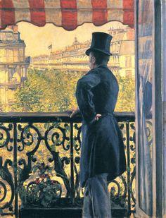 "artist-caillebotte:  ""Man on a Balcony, Boulevard Haussmann, 1880, Gustave Caillebotte  Medium: oil on canvas"""