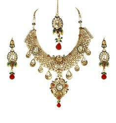 """Traditional rasrawa necklace set hand-engraved with semi-precious stones & polkis in 22kt gold colour plating with matching earrings & maang tikka!Necklace The size is 12"""" and earrings 3"""" Mang tikka 3.5""""approx. @Sia Art Jewellery"""